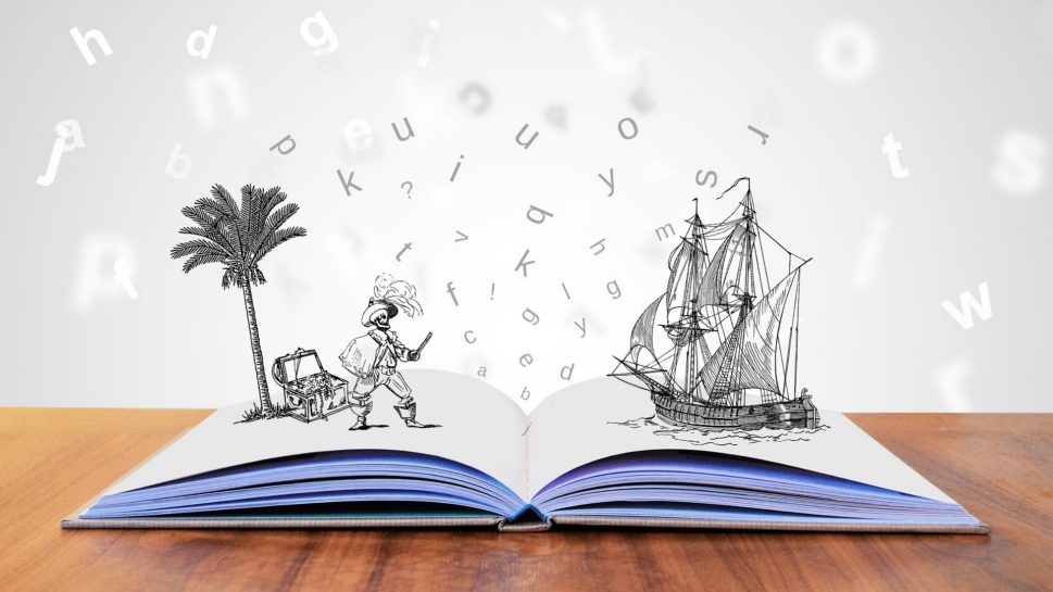 a book a pirate and ship