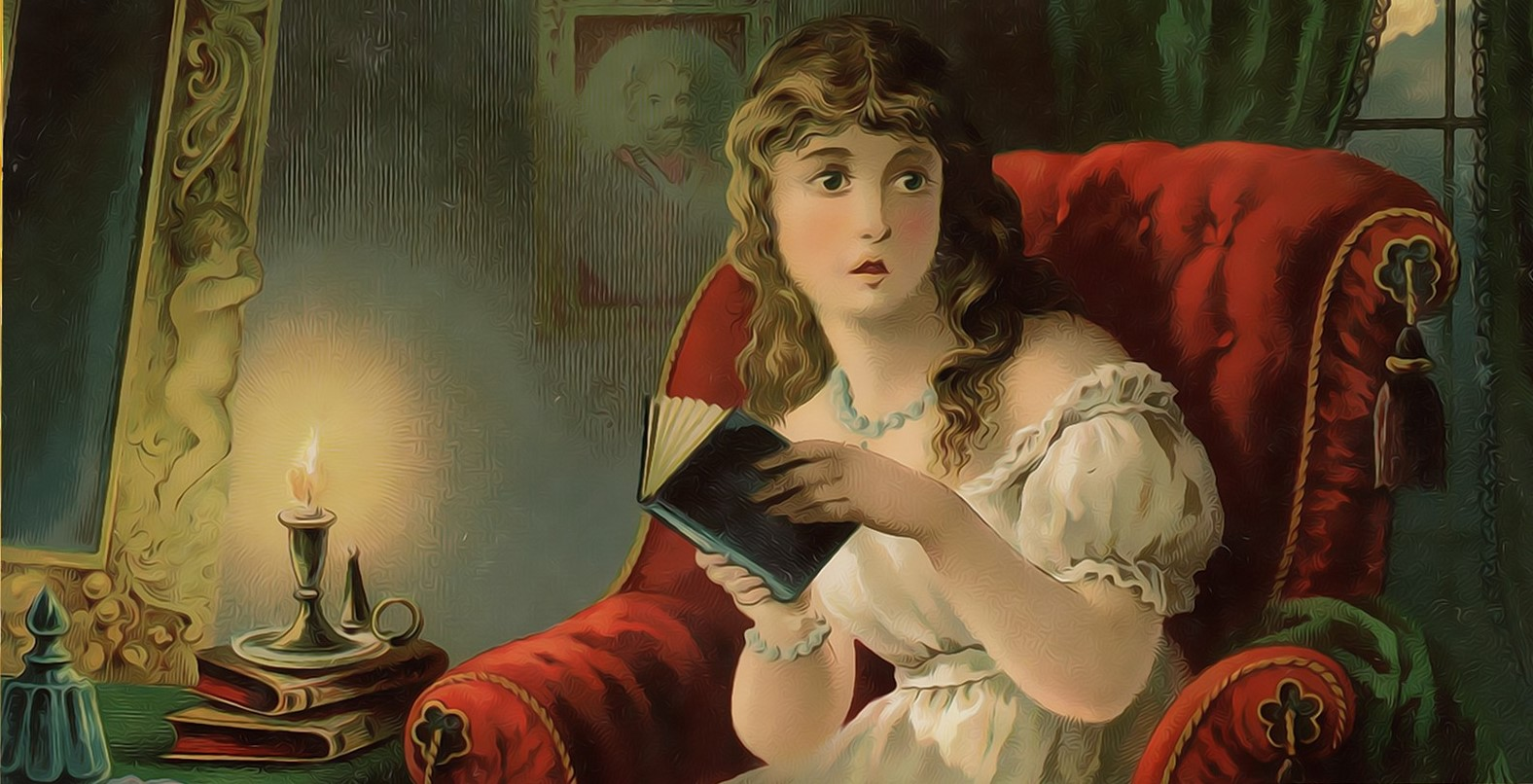 younglady reading a book by candlelight