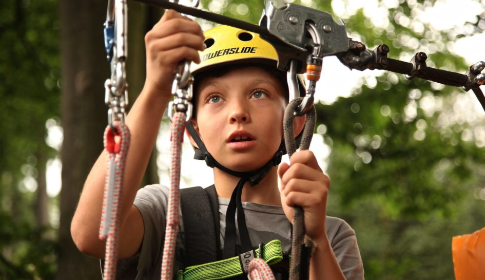 boy on zip-wire